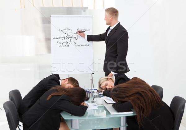 Stockfoto: Collega's · slapen · presentatie · zakenman · business · kantoor