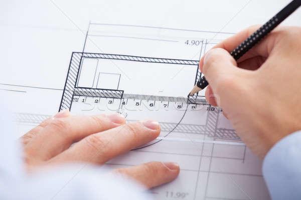 Kezek ceruza vonalzó terv közelkép iroda Stock fotó © AndreyPopov