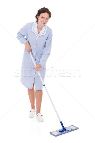 Maid Holding Mop Stock photo © AndreyPopov