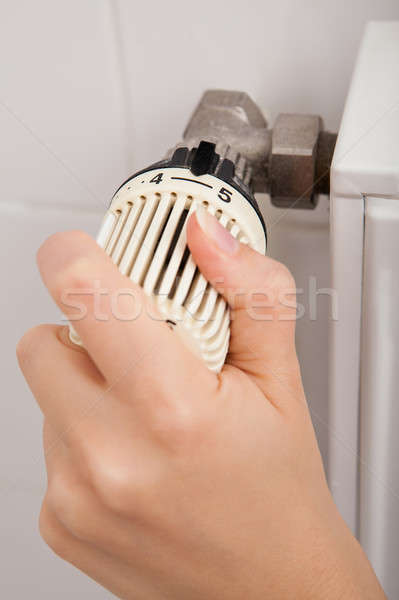 Person Adjusting Temperature By Thermostat Stock photo © AndreyPopov