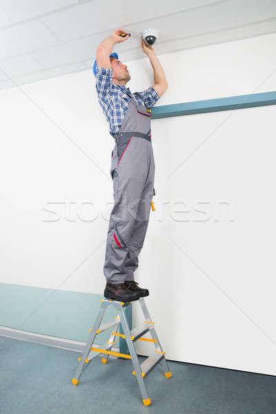 Technician Fixing Cctv Camera Stock photo © AndreyPopov