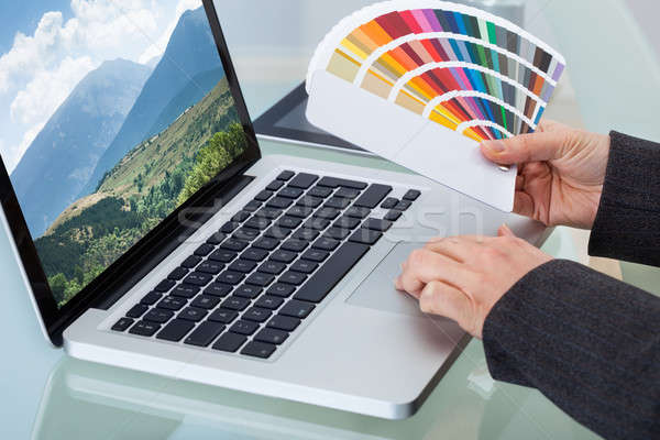 Photo Editor With Color Swatches Working On Laptop Stock photo © AndreyPopov