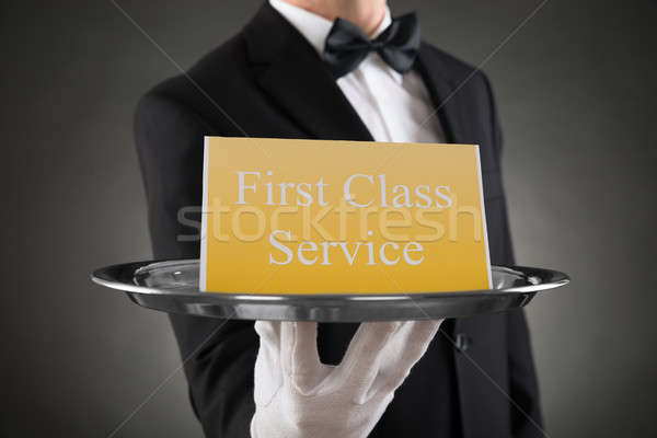 Plate With The Text First Class Service On Board Stock photo © AndreyPopov