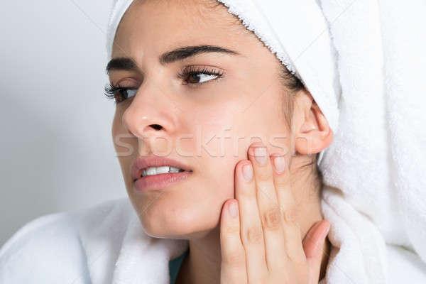 Mulher sofrimento dor de dente casa mulher jovem Foto stock © AndreyPopov
