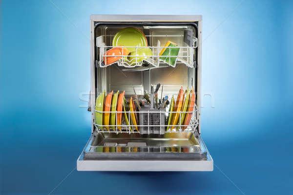 Bulaşık makinesi tok yalıtılmış mavi teknoloji Stok fotoğraf © AndreyPopov