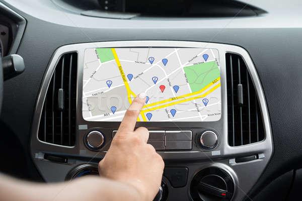 Nők kéz GPS navigáció közelkép bent Stock fotó © AndreyPopov