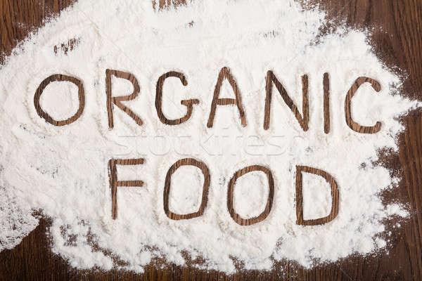 Organiczny napisany mąka widoku tekst Zdjęcia stock © AndreyPopov
