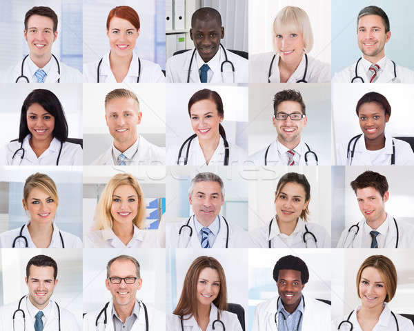 Collage Of Smiling Doctors Stock photo © AndreyPopov