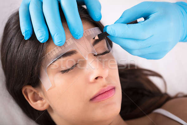 Mikrobleyding Eyebrows Workflow In A Beauty Salon Stock photo © AndreyPopov