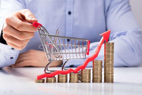 Mão humana pequeno carrinho de compras gráfico moedas Foto stock © AndreyPopov