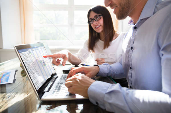 Two Businesspeople Analyzing Gantt Chart Stock photo © AndreyPopov