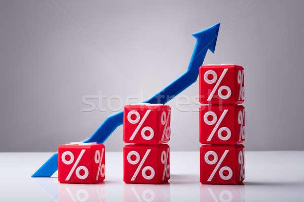 Rojo cubos porcentaje símbolo azul Foto stock © AndreyPopov