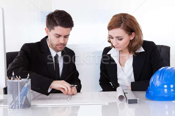 Porträt zwei aufrichtig arbeiten Büro Computer Stock foto © AndreyPopov