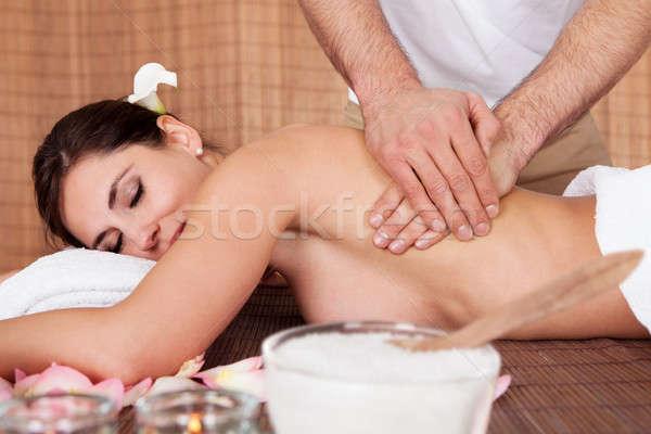 Güzel genç kadın geri masaj spa kız Stok fotoğraf © AndreyPopov