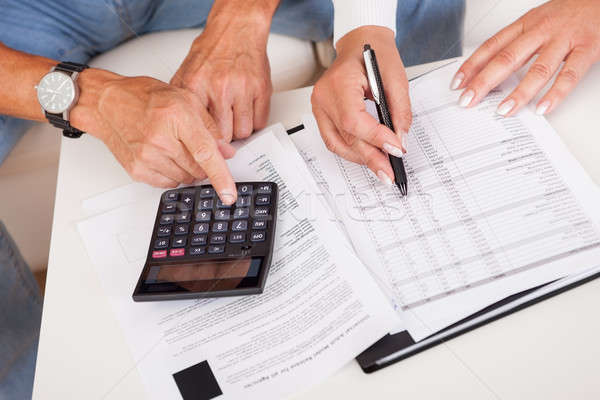 Excited middle-aged couple doing finances at home Stock photo © AndreyPopov