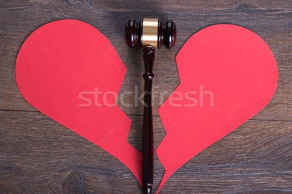 Kalapács szív válás összetört szív forma fa Stock fotó © AndreyPopov