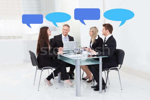 üzletemberek adatbázis buborékok tárgyalóterem megbeszélés üzlet Stock fotó © AndreyPopov