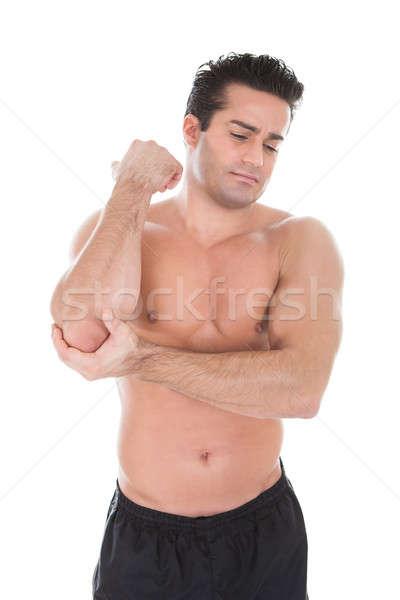 Foto stock: Moço · sofrimento · cotovelo · dor · muscular