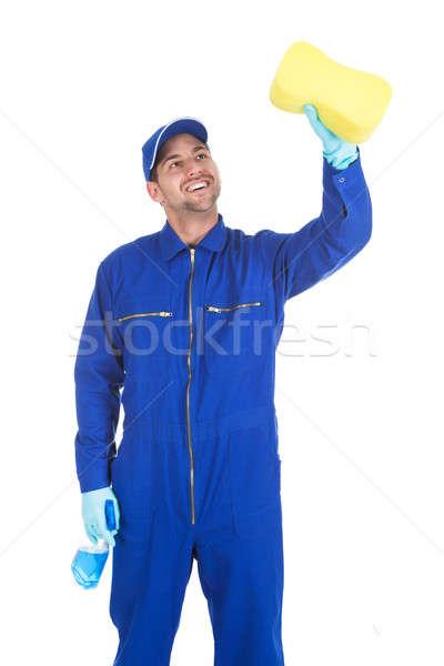 Szolgáló spray üveg szivacs takarítás fiatal Stock fotó © AndreyPopov