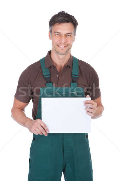Male Gardener Holding Blank Placard Stock photo © AndreyPopov