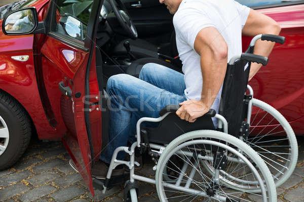 Stok fotoğraf: özürlü · adam · yatılı · araba · tekerlekli · sandalye