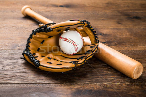 Glove With Baseball And Bat Stock photo © AndreyPopov