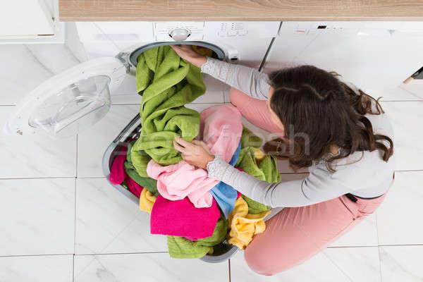 Kadın elbise yıkayıcı görmek genç kadın Stok fotoğraf © AndreyPopov