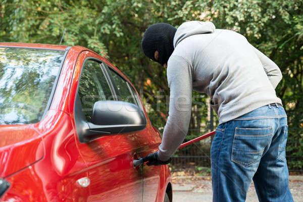 Tolvaj maszk nyitás autók ajtó kapucnis Stock fotó © AndreyPopov