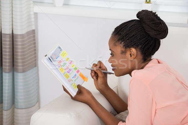 женщину графика дневнике улыбаясь молодые африканских Сток-фото © AndreyPopov