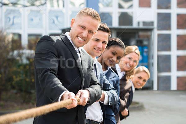 Jogar guerra grupo feliz Foto stock © AndreyPopov