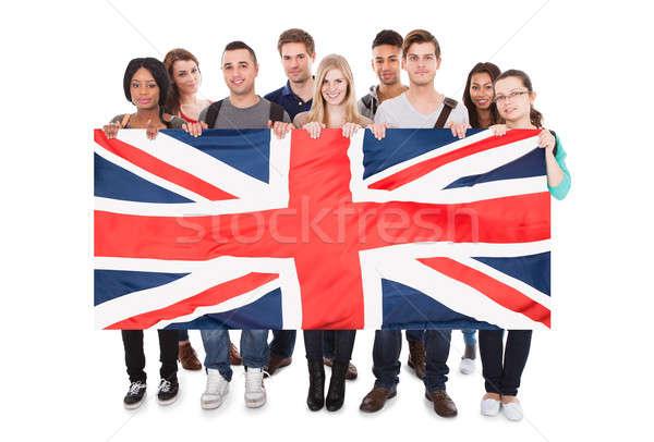 Jovens union jack feliz branco estudantes Foto stock © AndreyPopov