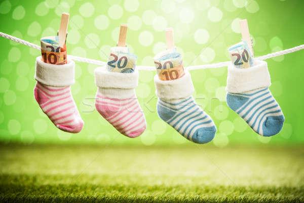 Par bebé calcetín dólar colgante cuerda Foto stock © AndreyPopov