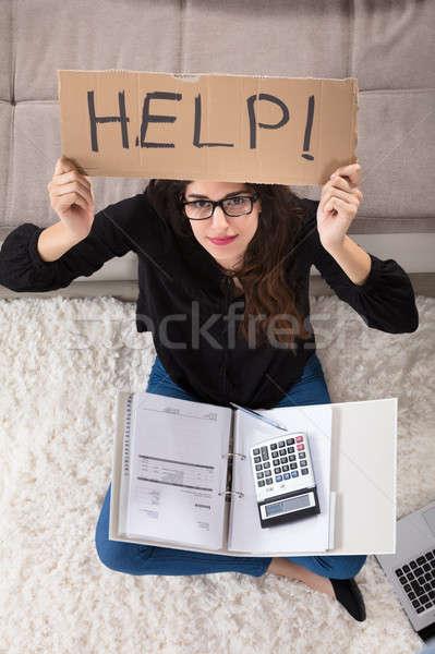 Mujer ayudar signo triste Foto stock © AndreyPopov