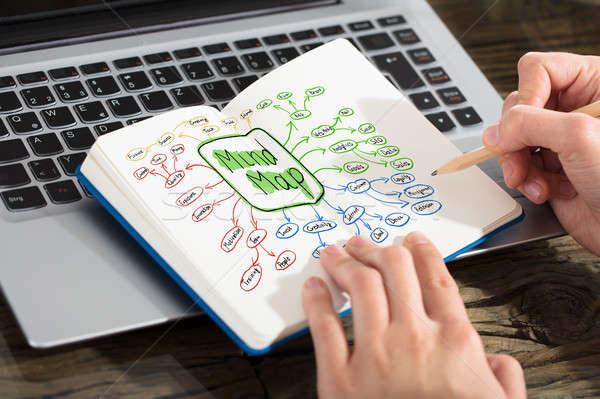 Businesswoman Drawing Mind Map Concept On Notebook Stock photo © AndreyPopov