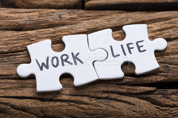 Work And Life Words Written On Pieces Of Jigsaw Puzzle Stock photo © AndreyPopov
