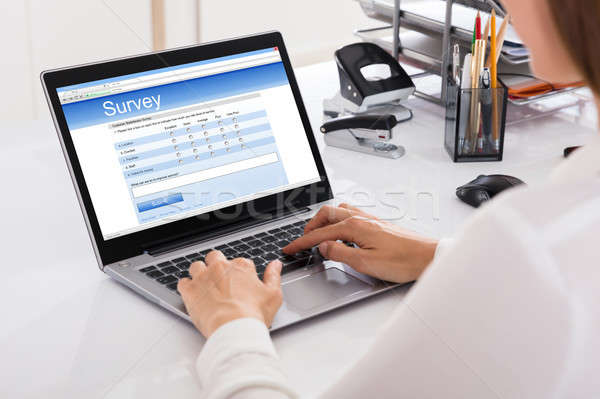 Kobieta interesu nadzienie badanie laptop pracy Zdjęcia stock © AndreyPopov