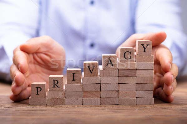 Pessoas mão blocos privacidade texto Foto stock © AndreyPopov