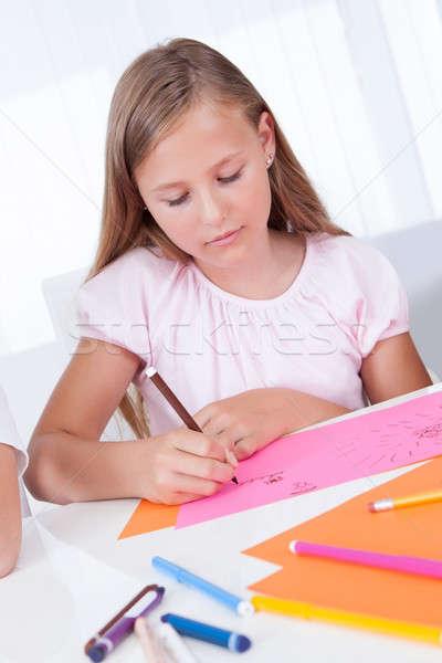 Portret meisje tekening kleurrijk papier hand Stockfoto © AndreyPopov