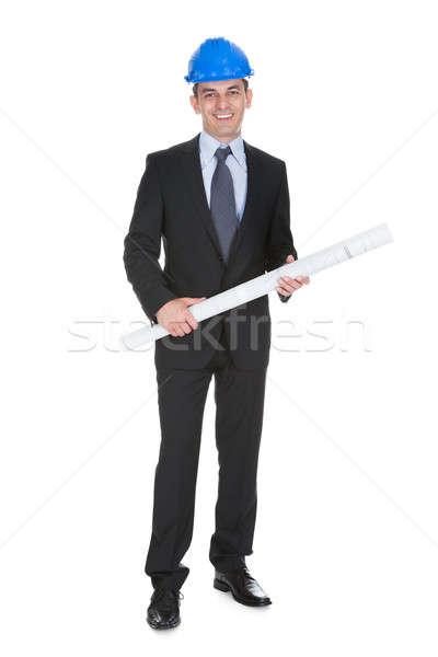 Stockfoto: Mannelijke · architect · blauwdrukken · witte · business