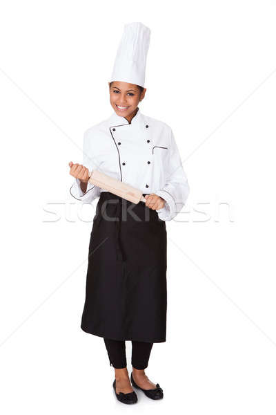 Female Chef With Battledore In Hand Stock photo © AndreyPopov