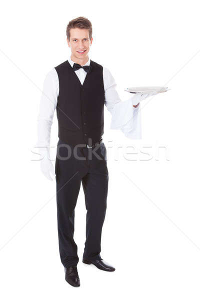Waiter With Cloche Lid Cover Stock photo © AndreyPopov