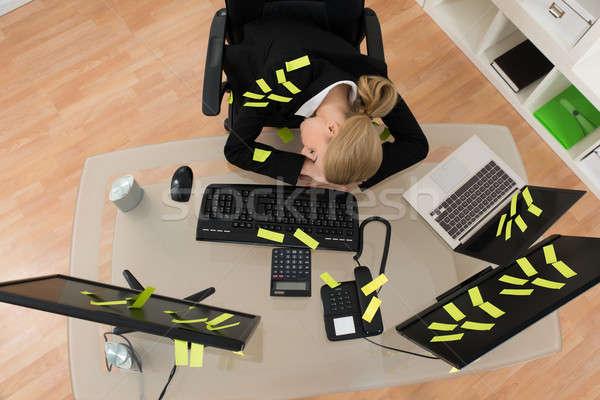 Işkadını hatırlatma notlar uyku ofis yorgun Stok fotoğraf © AndreyPopov