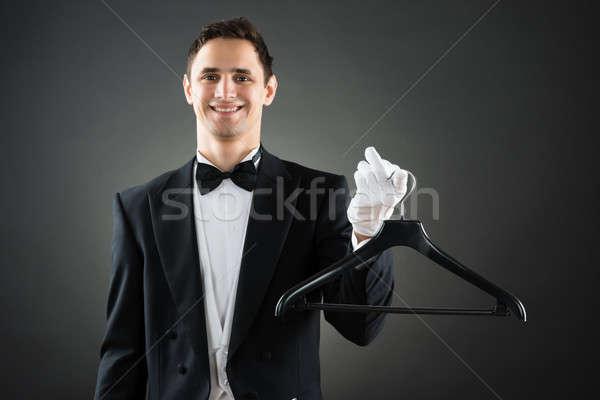 Portret gelukkig huishoudster hanger mannelijke Stockfoto © AndreyPopov