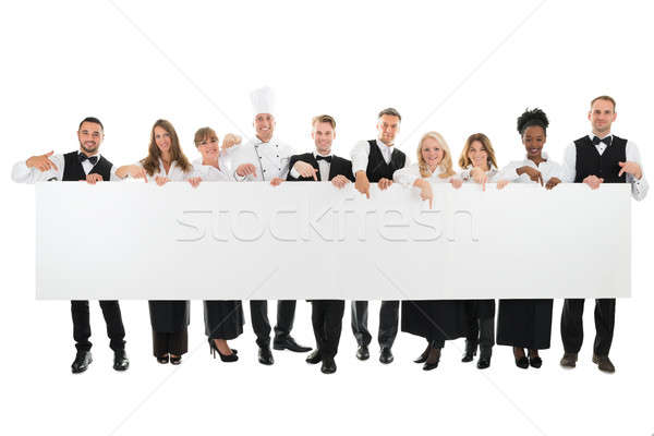 Restaurant personeel billboard portret witte Stockfoto © AndreyPopov