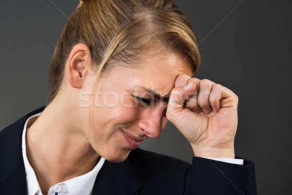 Depresji kobieta interesu strony głowie młodych szary Zdjęcia stock © AndreyPopov