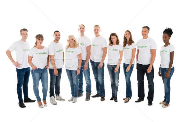Retrato voluntários em pé branco Foto stock © AndreyPopov