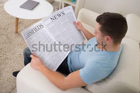 Foto stock: Homem · leitura · tempo · notícia · jornal · casa