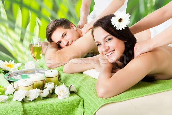 Photo stock: Souriant · couple · épaule · massage · spa · portrait