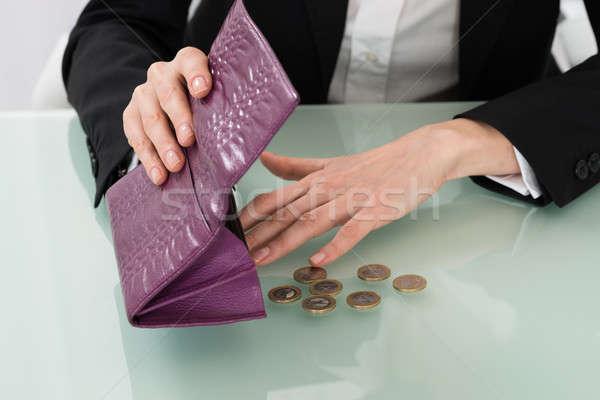 деловая женщина пусто кошелька евро монетами Сток-фото © AndreyPopov