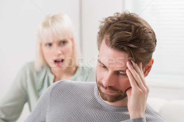 Woman Shouting To The Frustrated Man Stock photo © AndreyPopov